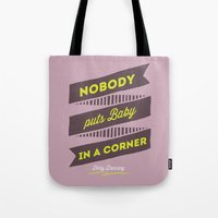 dirty dancing Tote Bags featuring dirty dancing lilac by 16floor