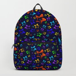 Pattern of cheerful children's shimmering stars on a blue background. Backpack