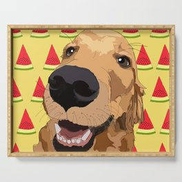Golden Retriever Dog-Watermelon Serving Tray