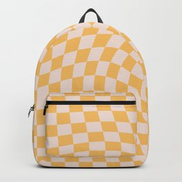 Check I - Yellow Twist — Checkerboard Print Backpack