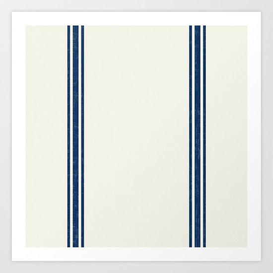 Vintage Country French Grainsack Blue Stripes Cream Background by shabbyhappydesigns