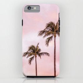 Palm Tree Photography Landscape Sunset Unicorn Clouds Blush Millennial Pink iPhone Case