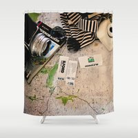 vintage map Shower Curtains featuring Map by Carmen Moreno Photography