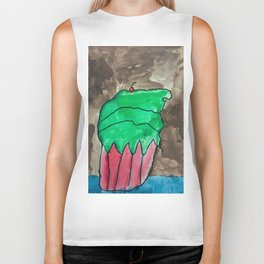 Sweet Cupcake Confections Green Frosting With Red Cherry Watercolor Biker Tank