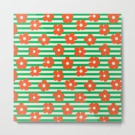 Retro Orange Poppies on Green Stripes Metal Print