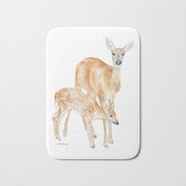 Mother and Baby Deer Watercolor Bath Mat