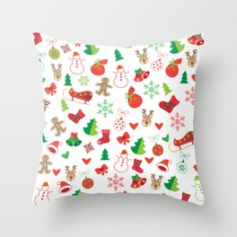 Happy New Year and Christmas Symbols Decoration Throw Pillow
