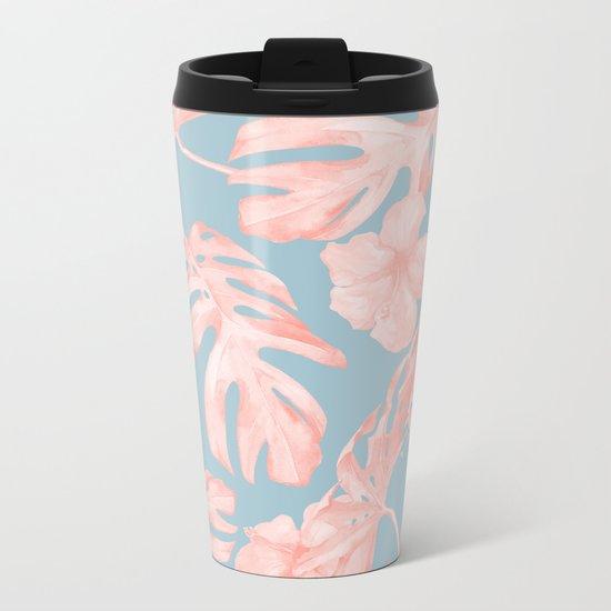 Island Life Millennial Pink on Pale Teal Blue Metal Travel Mug
