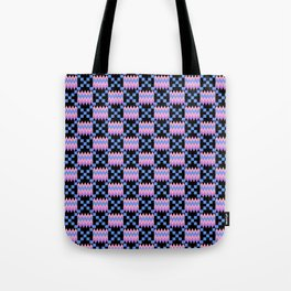 Cornflower Blue, Carnation Pink, Lavender Purple Kente Cloth on Black Tote Bag