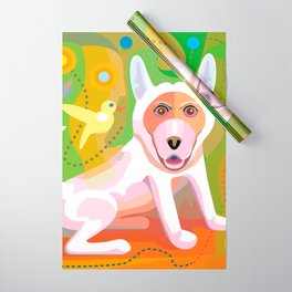 White Dog Scene Wrapping Paper