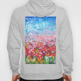 Abstract Garden with Poppies An impressionist Abstract   Hoody