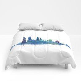 NY New York City Skyline NYC Watercolor art Comforters