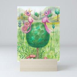 2 cute pink birds in a tree Mini Art Print