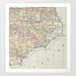 Vintage Map of Eastern North Carolina (1891) Art Print