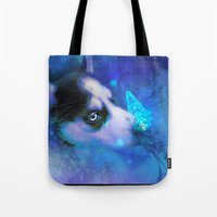 husky Tote Bags featuring Husky by morgenleedahl