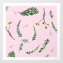 Greenery Pink Background Art Print