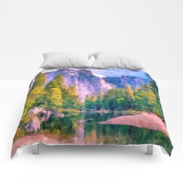 Mountain landscape with forest and river Comforters