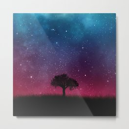 Tree Space Galaxy Cosmos Metal Print