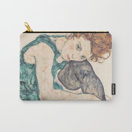 SEATED WOMAN WITH BENT KNEE - EGON SCHIELE Carry-All Pouch