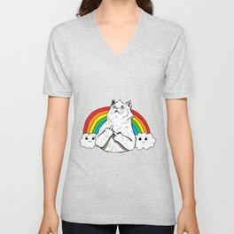 Fluff Off Rainbow Cat Unisex V-Neck