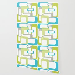 Mid-Century Modern Rectangle Design Blue Green and Gray Wallpaper
