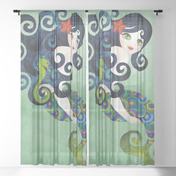 Aquamarine Mermaid Sheer Curtain