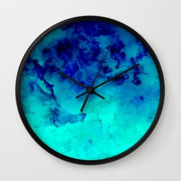 Mermaid paradise | blue ombre turquoise watercolor Wall Clock