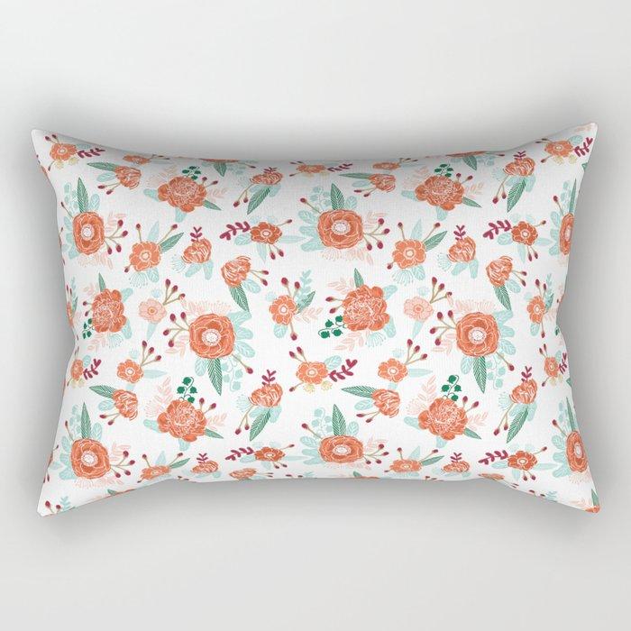 Autumn Fall florals cute winter christmas theme pattern print Rectangular Pillow