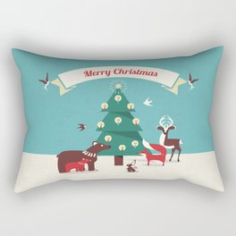 Christmas Animals and Christmas Tree Rectangular Pillow