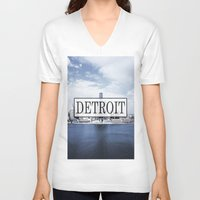 detroit V-neck T-shirts featuring Detroit Typography by Evan Smith