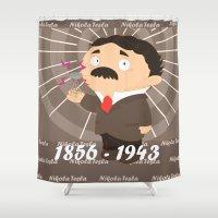tesla Shower Curtains featuring Nikola Tesla by Alapapaju