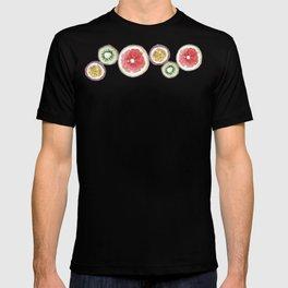Round Fruits painting: kiwi, passionfruit, grapefruit T-shirt