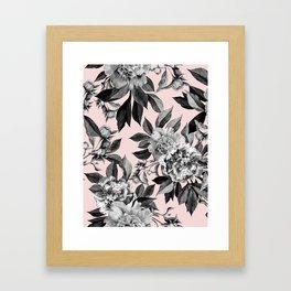 Floral pink - black & white Framed Art Print