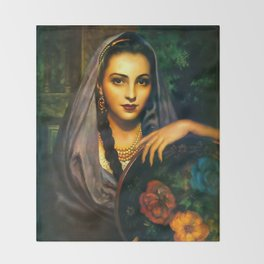 Jesus Helguera Painting of a Calendar Girl with Dark Shawl Throw Blanket