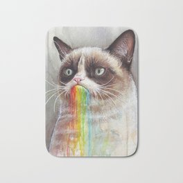 Cat Tastes the Grumpy Rainbow | Watercolor Painting Bath Mat