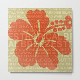 Summer Words Hawaiian Hibiscus Graphic Design Metal Print