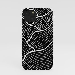 Abstract waves / black & white iPhone Case