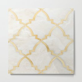 White Gold Marble Moraccan Style Pattern Metal Print