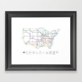 Interstate Highways as a Subway Map Framed Art Print