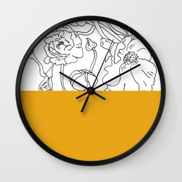 VESSEL - Floral Ink in Mustard - Cooper and Colleen Wall Clock