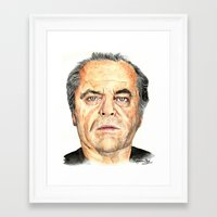 jack nicholson Framed Art Prints featuring Jack Nicholson by Katherine Mary