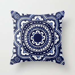 Talavera Mexican tile inspired bold design in blue and white Throw Pillow