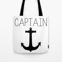 captain Tote Bags featuring Captain by Nicolekay