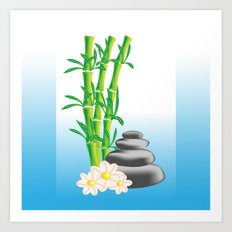 Meditation stones with bamboo and flowers Art Print