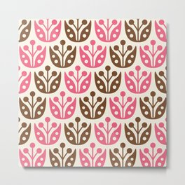 Mid Century Flower Pattern 13 Metal Print