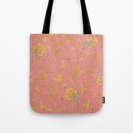Paradise Florals - Coral & Yellow Tote Bag