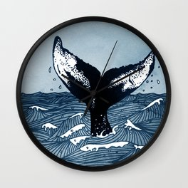 Hump Back Whale tail breaking the surface of stormy waves at sea Wall Clock