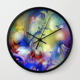 Coral Reef Yellow Blue Wall Clock