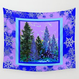 BLUE-LILAC WINTER SNOWFLAKE CRYSTALS FOREST ART DESIGN Wall Tapestry