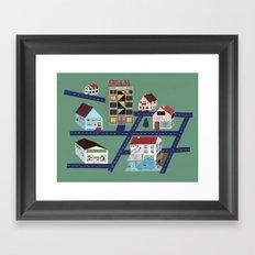 Little Town Pattern Framed Art Print